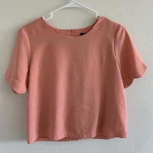 Pink Scalloped Crop Top